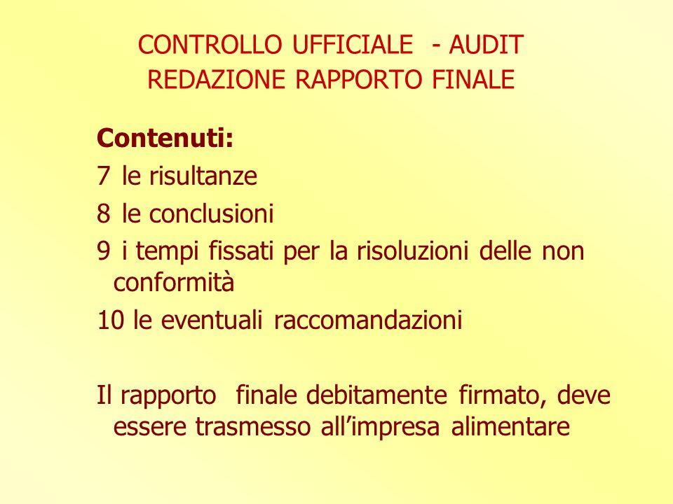 CONTROLLO UFFICIALE - AUDIT REDAZIONE RAPPORTO FINALE