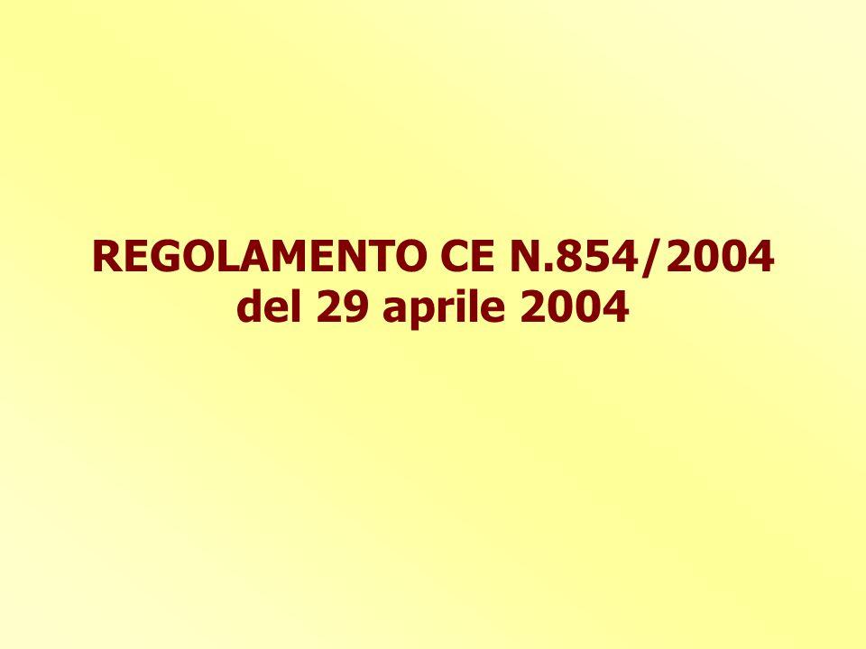 REGOLAMENTO CE N.854/2004 del 29 aprile 2004