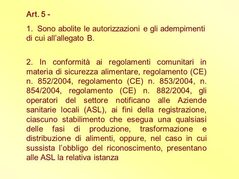 Art. 5 - 1. Sono abolite le autorizzazioni e gli adempimenti di cui all'allegato B.