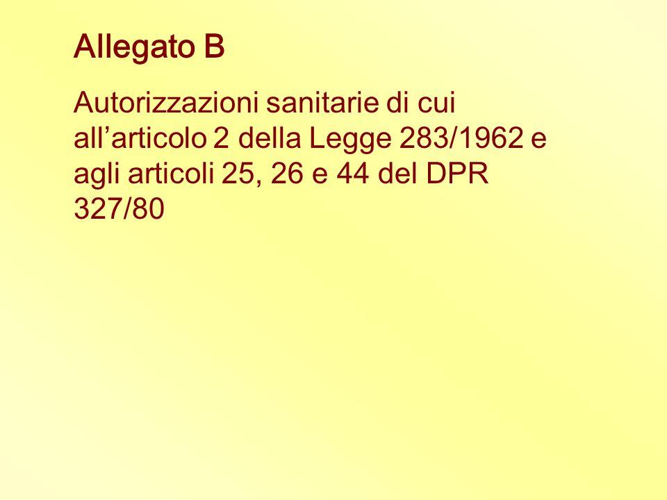Allegato B Autorizzazioni sanitarie di cui all'articolo 2 della Legge 283/1962 e agli articoli 25, 26 e 44 del DPR 327/80.