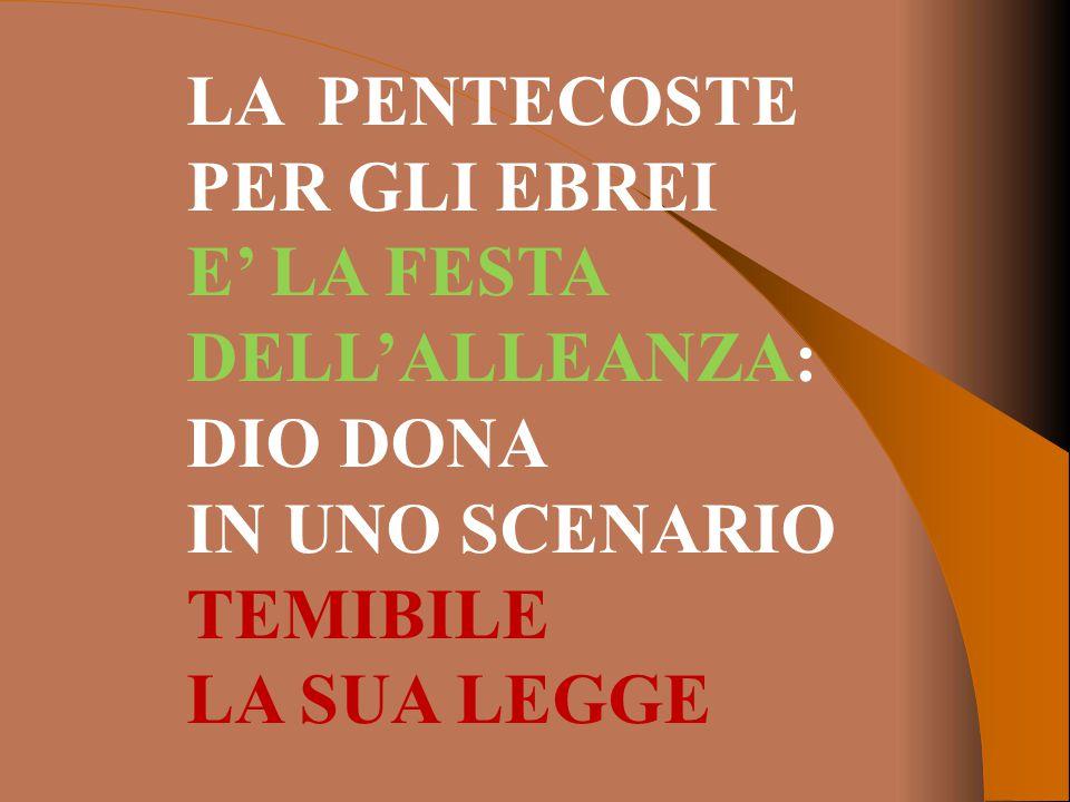 LA PENTECOSTE PER GLI EBREI. E' LA FESTA. DELL'ALLEANZA: DIO DONA. IN UNO SCENARIO. TEMIBILE.