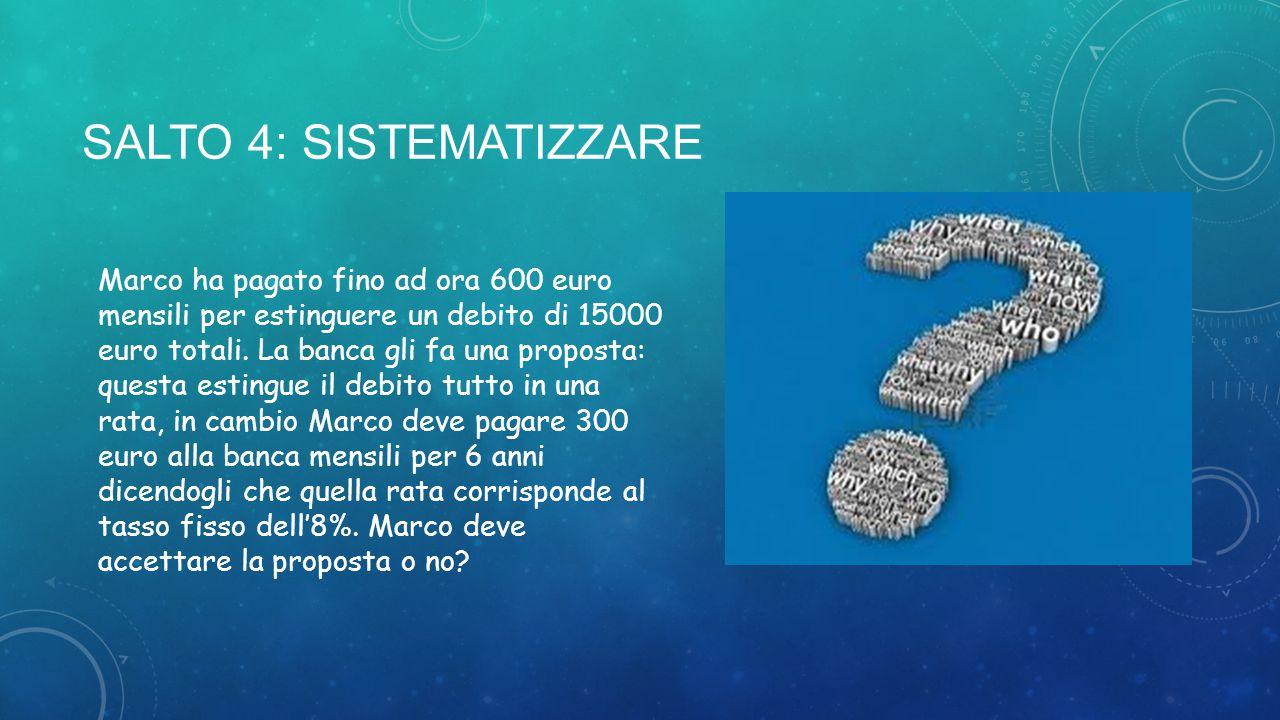 SALTO 4: Sistematizzare