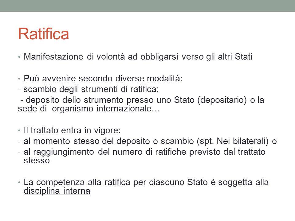 Ratifica Manifestazione di volontà ad obbligarsi verso gli altri Stati