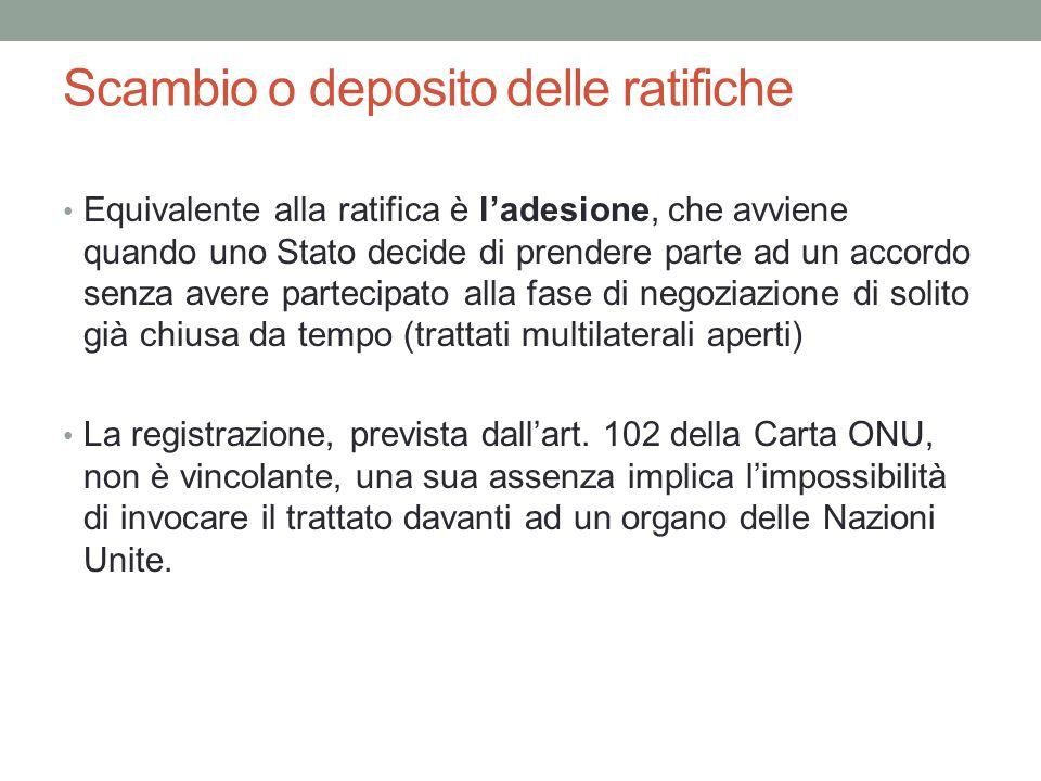 Scambio o deposito delle ratifiche