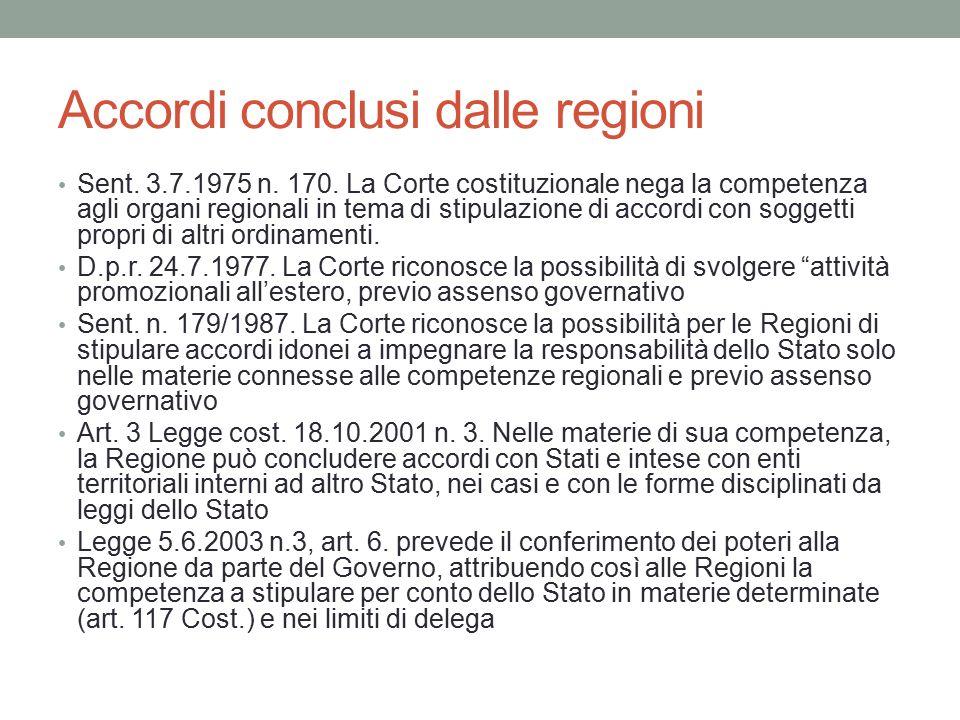 Accordi conclusi dalle regioni