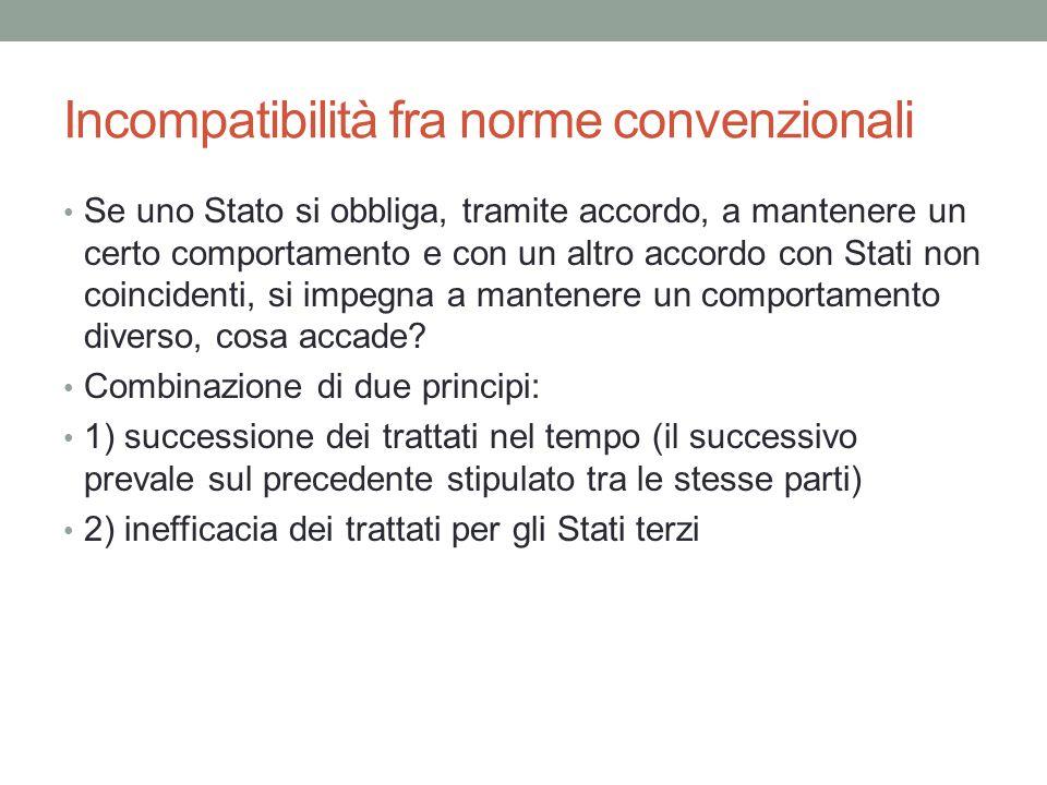 Incompatibilità fra norme convenzionali