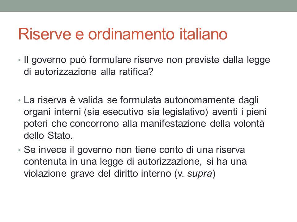 Riserve e ordinamento italiano
