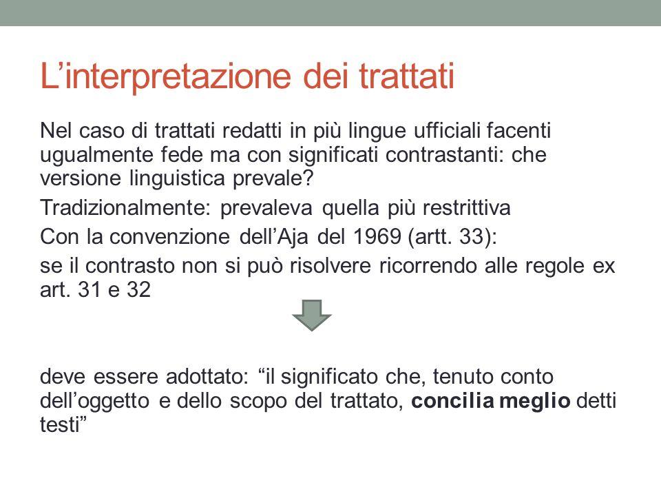 L'interpretazione dei trattati