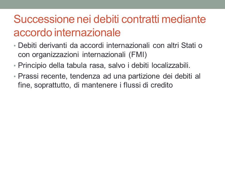 Successione nei debiti contratti mediante accordo internazionale