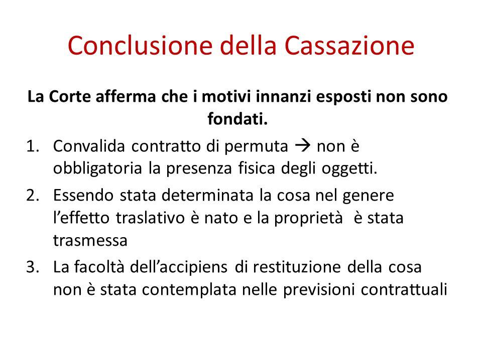 Conclusione della Cassazione