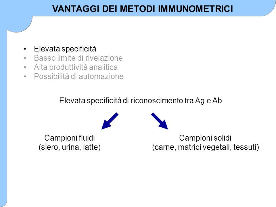 VANTAGGI DEI METODI IMMUNOMETRICI
