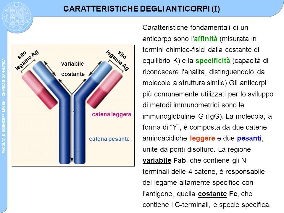 CARATTERISTICHE DEGLI ANTICORPI (I)