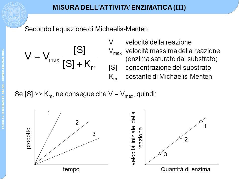 MISURA DELL'ATTIVITA' ENZIMATICA (III)
