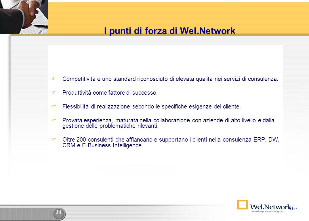 I punti di forza di Wel.Network
