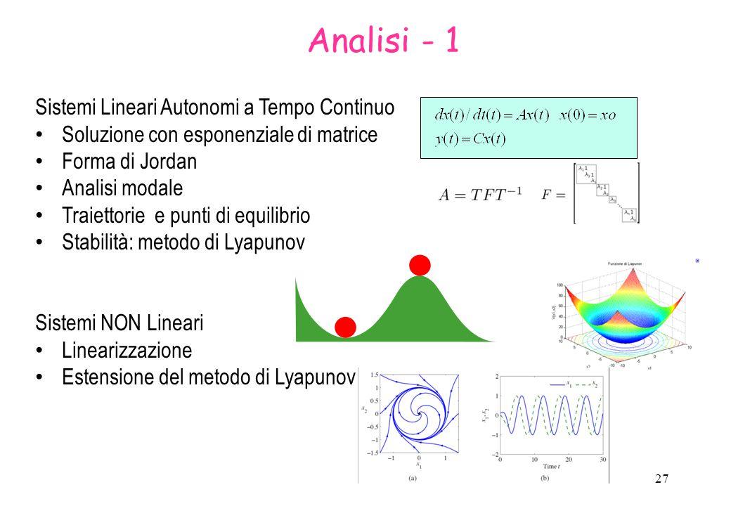 Analisi - 1 Sistemi Lineari Autonomi a Tempo Continuo