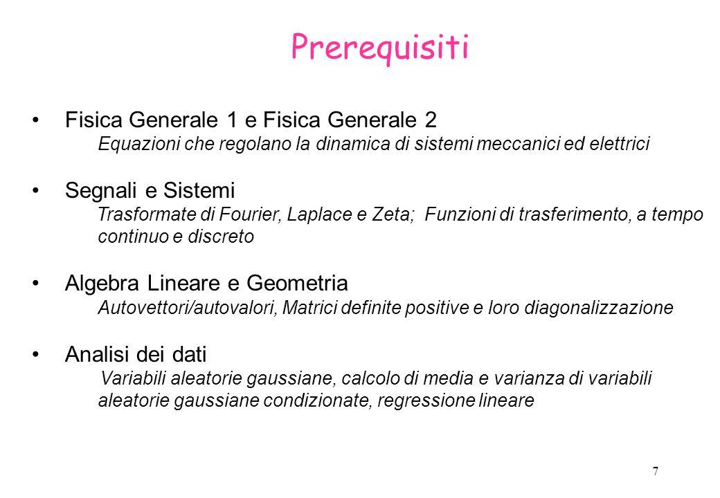 Prerequisiti Fisica Generale 1 e Fisica Generale 2 Segnali e Sistemi