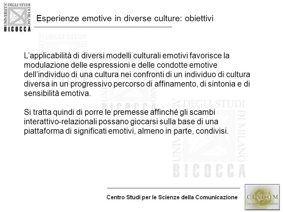 Esperienze emotive in diverse culture: obiettivi