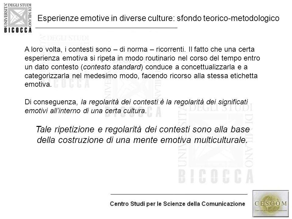 Esperienze emotive in diverse culture: sfondo teorico-metodologico