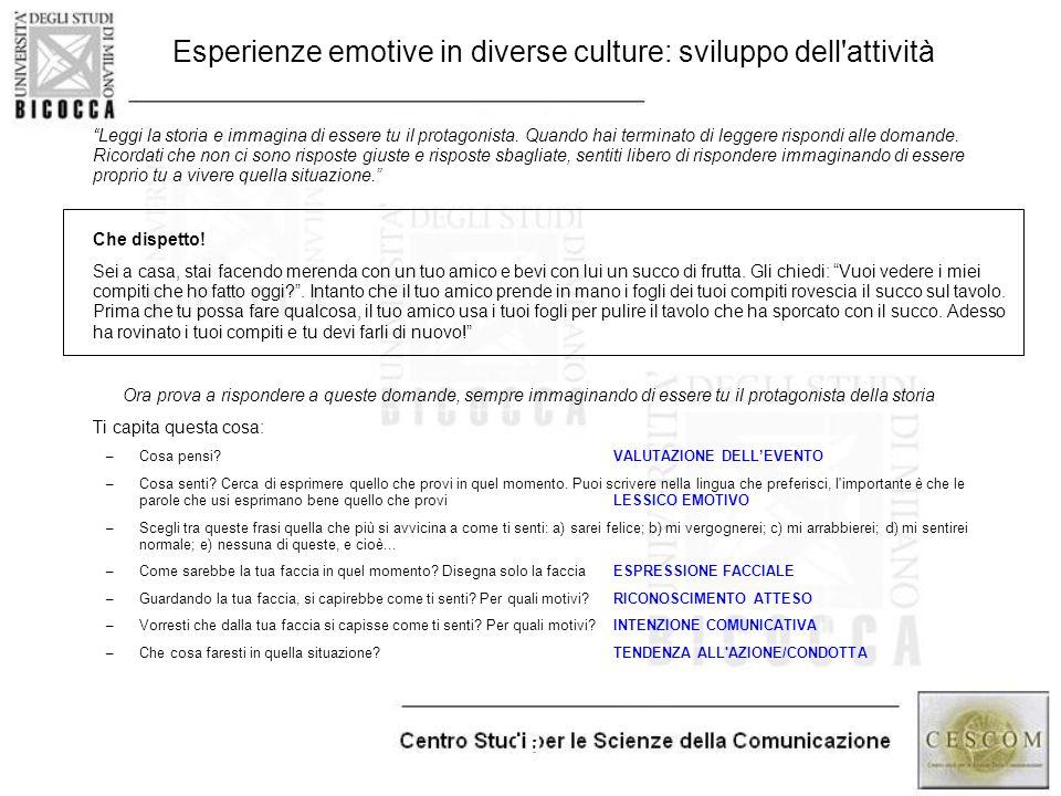 Esperienze emotive in diverse culture: sviluppo dell attività