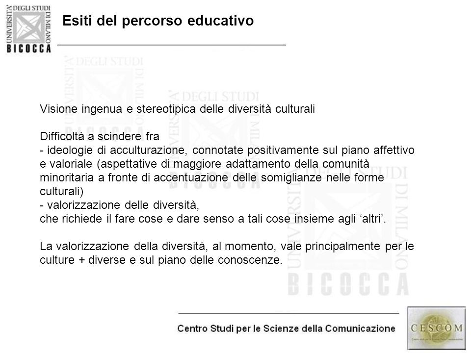 Esiti del percorso educativo