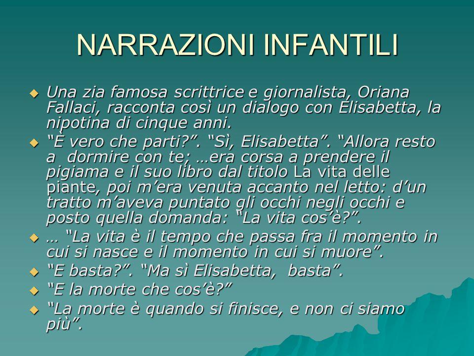 NARRAZIONI INFANTILI Una zia famosa scrittrice e giornalista, Oriana Fallaci, racconta così un dialogo con Elisabetta, la nipotina di cinque anni.