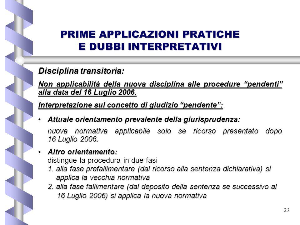 PRIME APPLICAZIONI PRATICHE E DUBBI INTERPRETATIVI