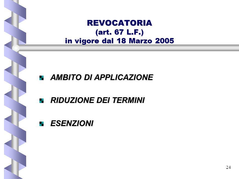 REVOCATORIA (art. 67 L.F.) in vigore dal 18 Marzo 2005