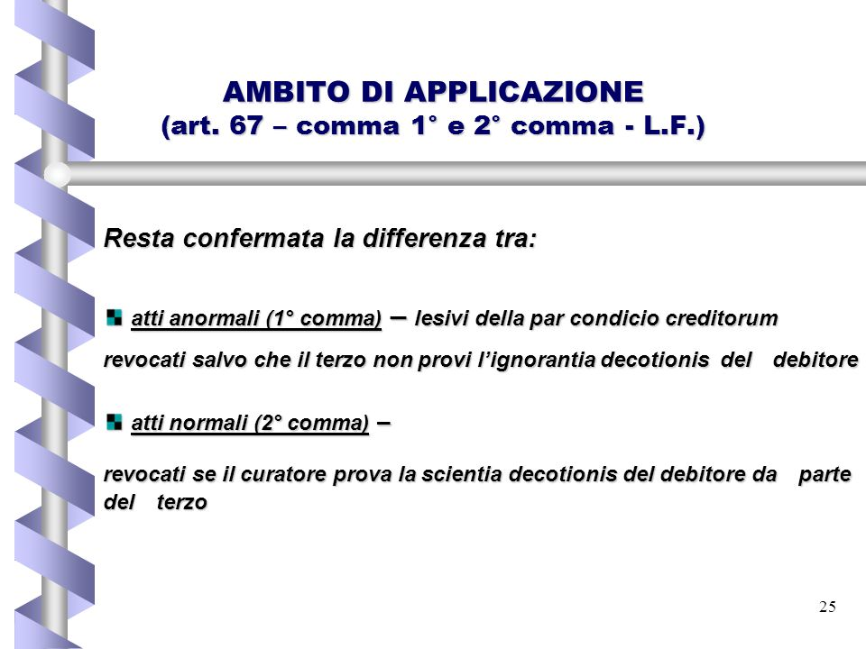 AMBITO DI APPLICAZIONE (art. 67 – comma 1° e 2° comma - L.F.)