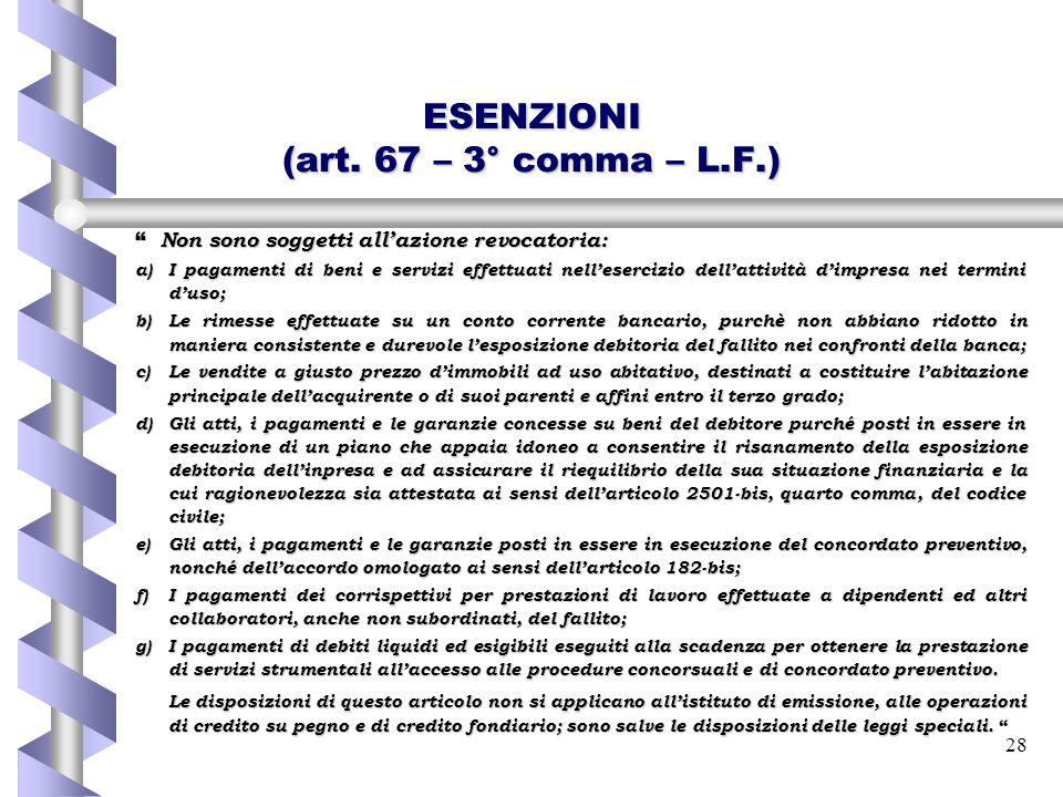 ESENZIONI (art. 67 – 3° comma – L.F.)