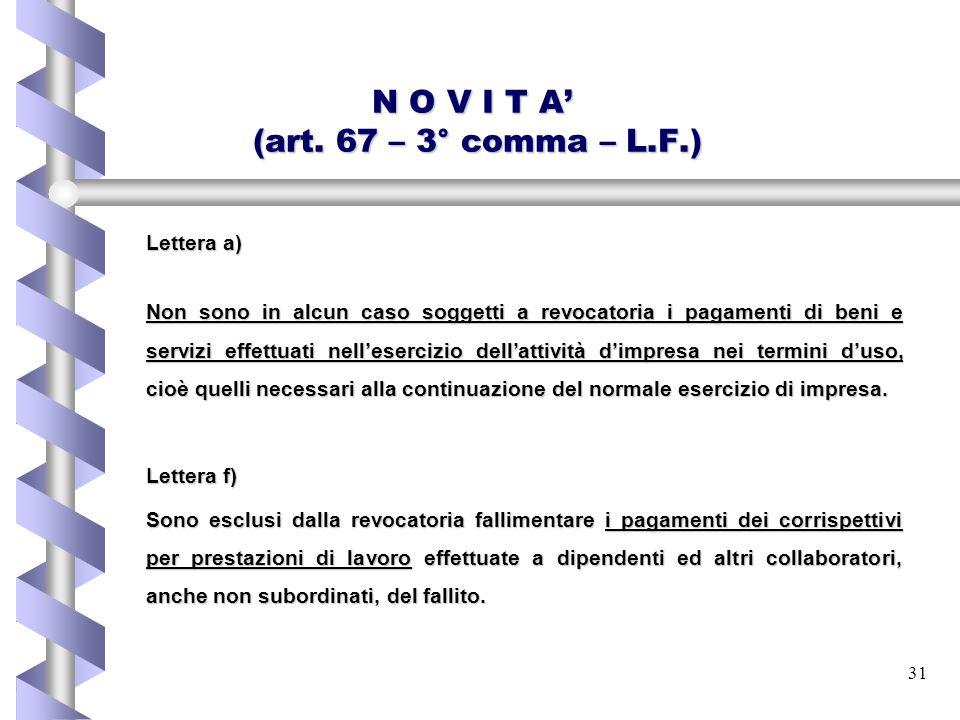 N O V I T A' (art. 67 – 3° comma – L.F.)