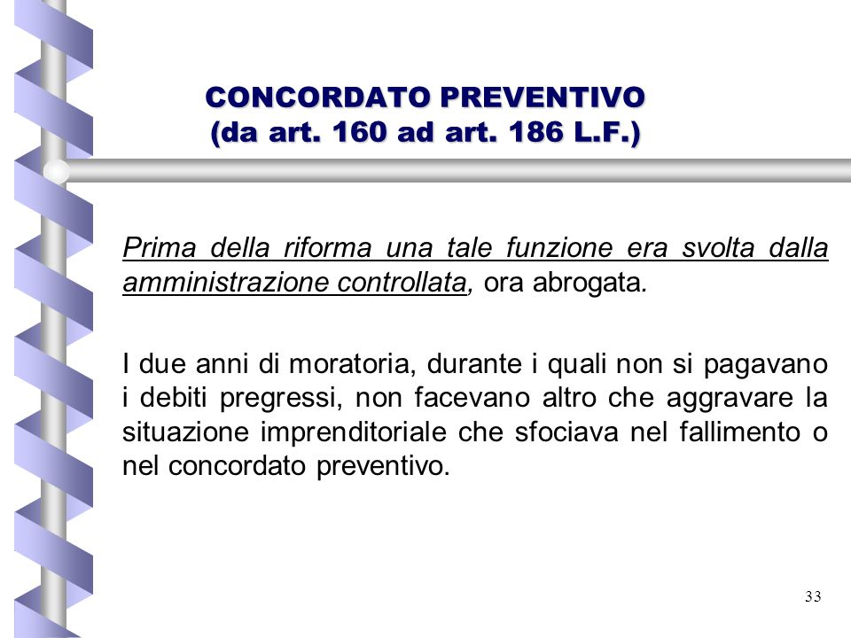 CONCORDATO PREVENTIVO (da art. 160 ad art. 186 L.F.)