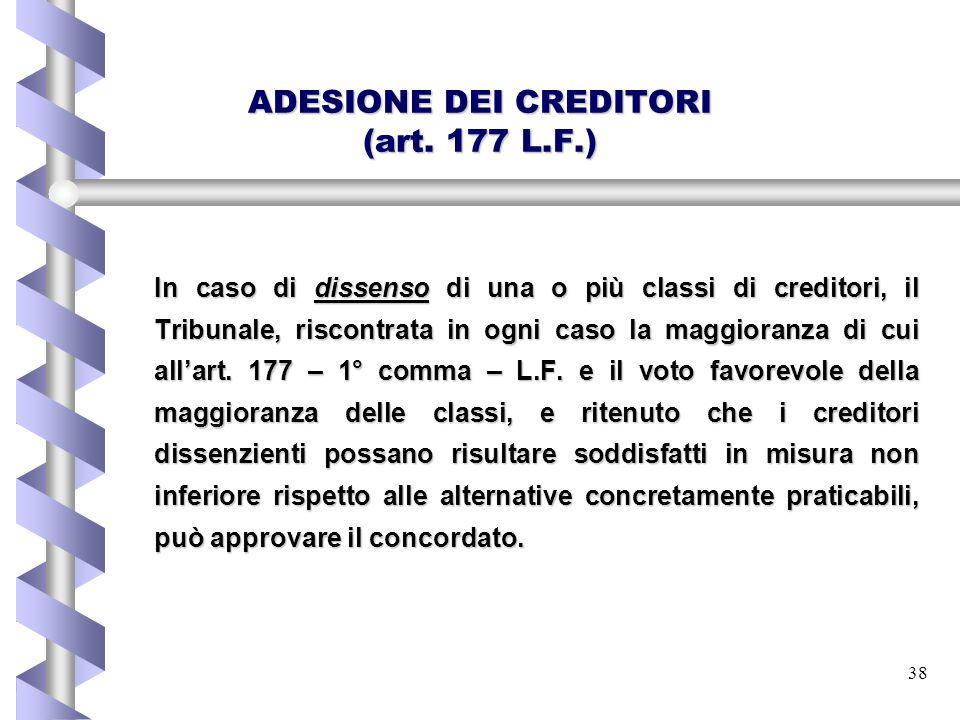 ADESIONE DEI CREDITORI (art. 177 L.F.)