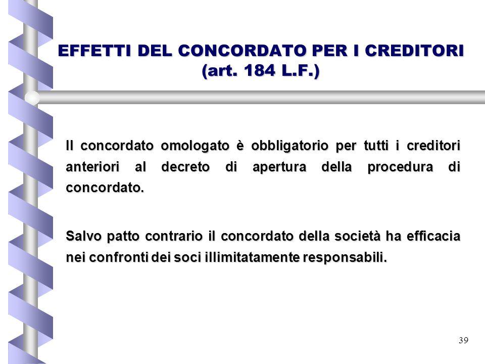 EFFETTI DEL CONCORDATO PER I CREDITORI (art. 184 L.F.)