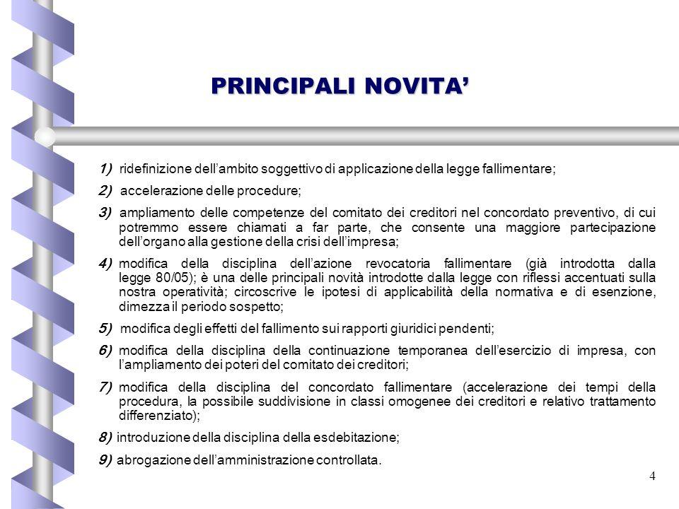 PRINCIPALI NOVITA' 1) ridefinizione dell'ambito soggettivo di applicazione della legge fallimentare;