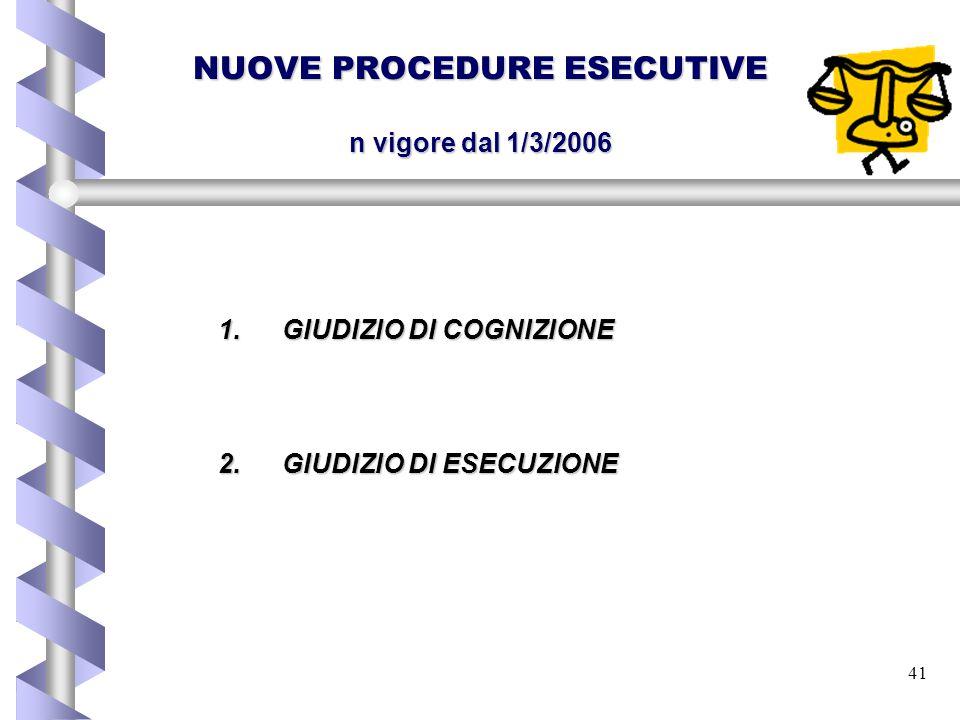 NUOVE PROCEDURE ESECUTIVE n vigore dal 1/3/2006