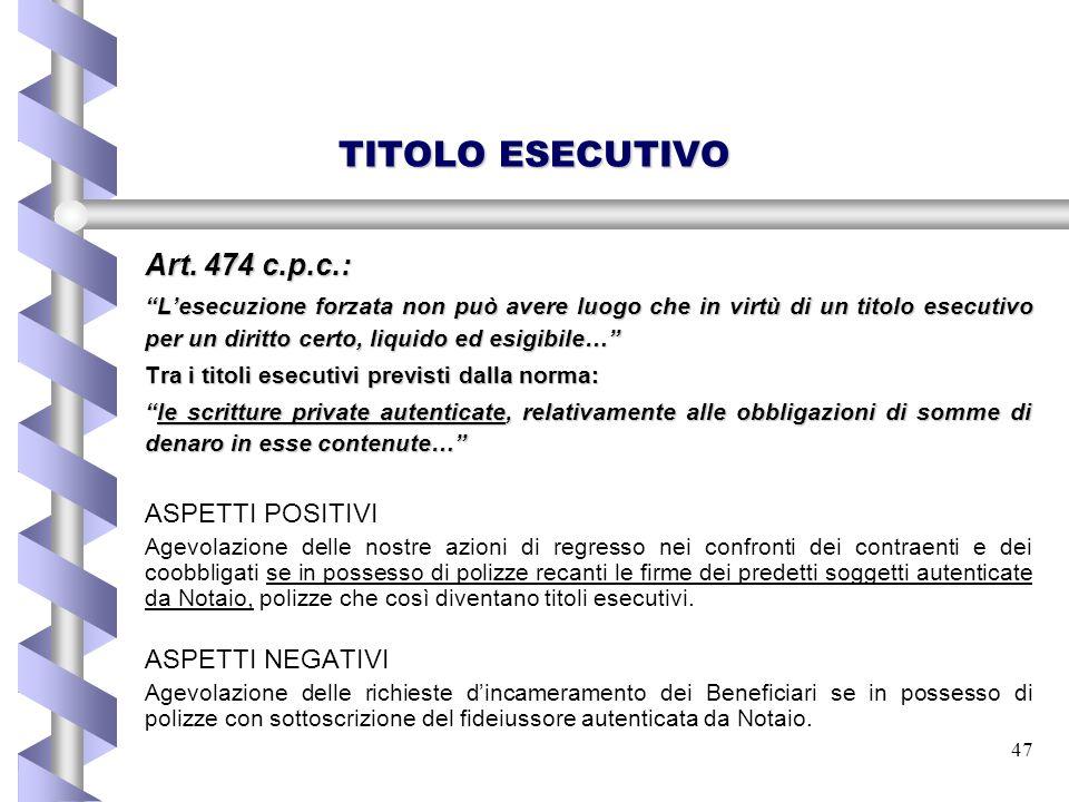TITOLO ESECUTIVO Art. 474 c.p.c.: ASPETTI POSITIVI ASPETTI NEGATIVI