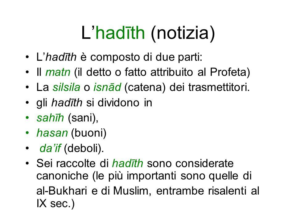 L'hadīth (notizia) L'hadīth è composto di due parti: