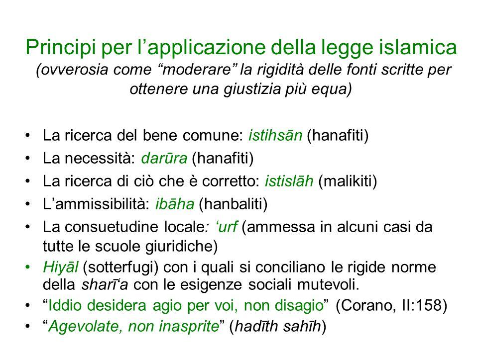 Principi per l'applicazione della legge islamica (ovverosia come moderare la rigidità delle fonti scritte per ottenere una giustizia più equa)