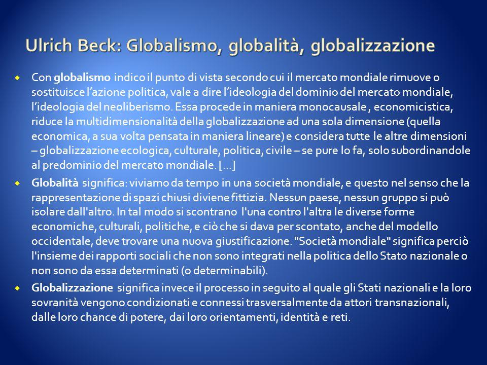 Ulrich Beck: Globalismo, globalità, globalizzazione