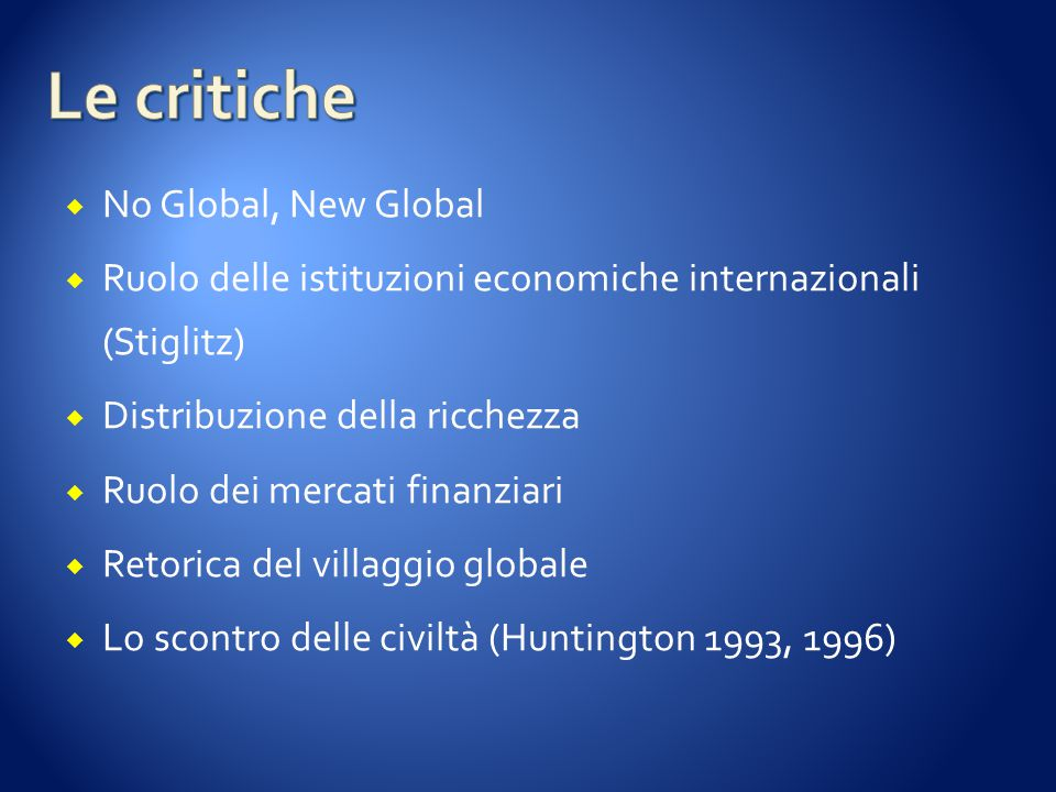 Le critiche No Global, New Global