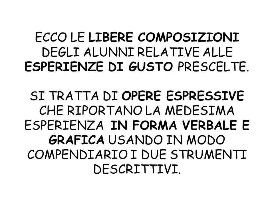 ECCO LE LIBERE COMPOSIZIONI DEGLI ALUNNI RELATIVE ALLE ESPERIENZE DI GUSTO PRESCELTE.