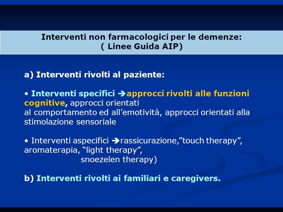 Interventi non farmacologici per le demenze: