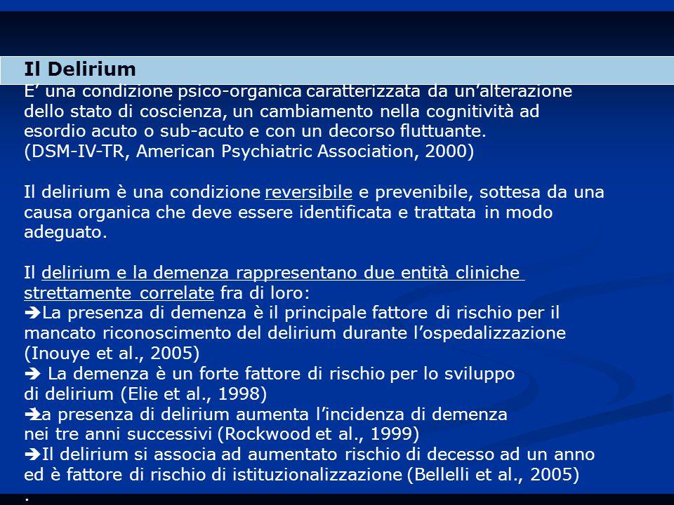 Il Delirium E' una condizione psico-organica caratterizzata da un'alterazione. dello stato di coscienza, un cambiamento nella cognitività ad.