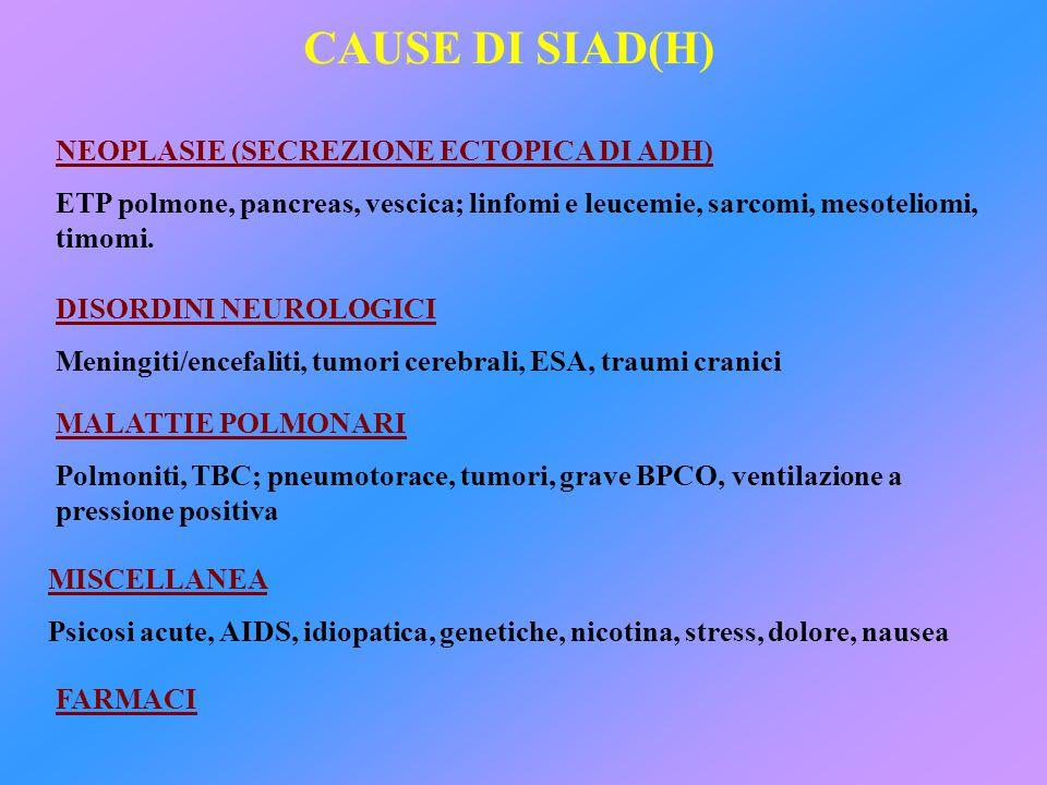 CAUSE DI SIAD(H) NEOPLASIE (SECREZIONE ECTOPICA DI ADH)