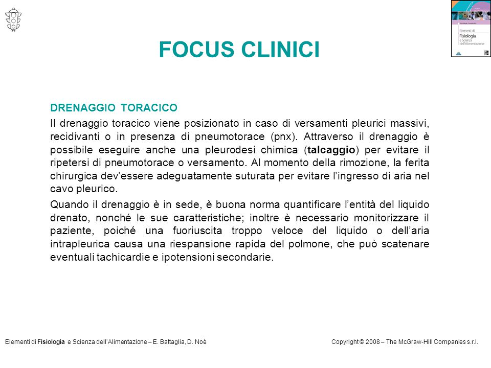FOCUS CLINICI DRENAGGIO TORACICO