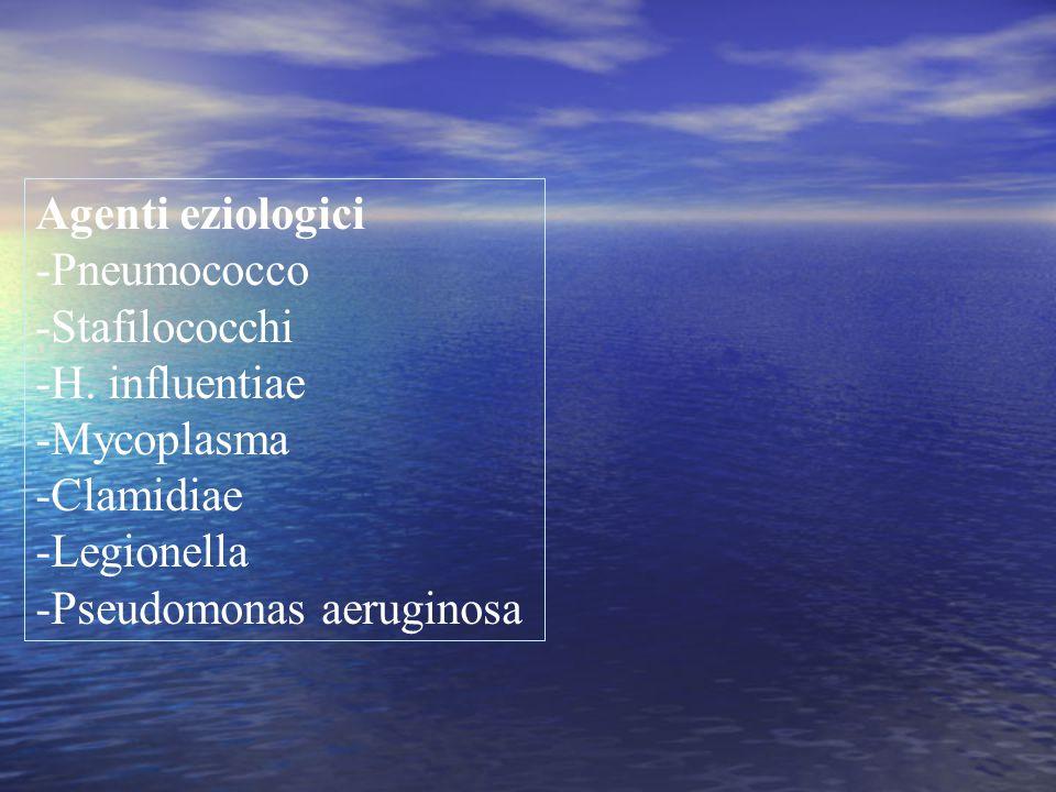 Agenti eziologici -Pneumococco. -Stafilococchi. -H. influentiae. -Mycoplasma. -Clamidiae. -Legionella.