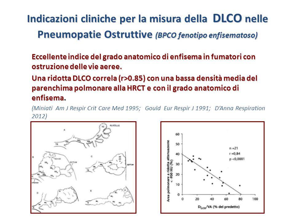Indicazioni cliniche per la misura della DLCO nelle Pneumopatie Ostruttive (BPCO fenotipo enfisematoso)