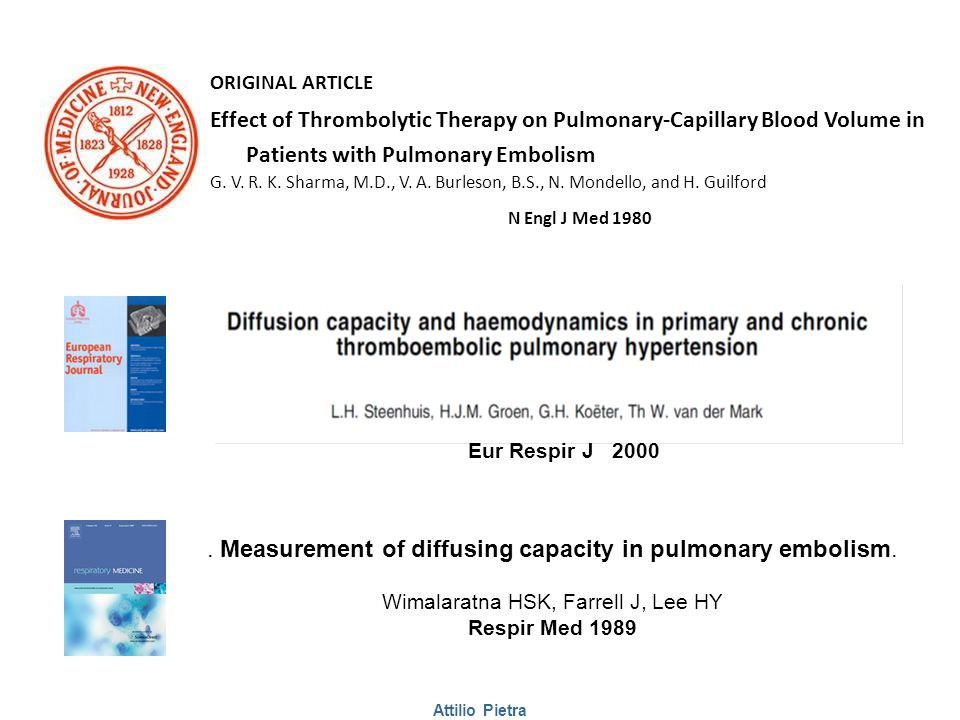 . Measurement of diffusing capacity in pulmonary embolism.