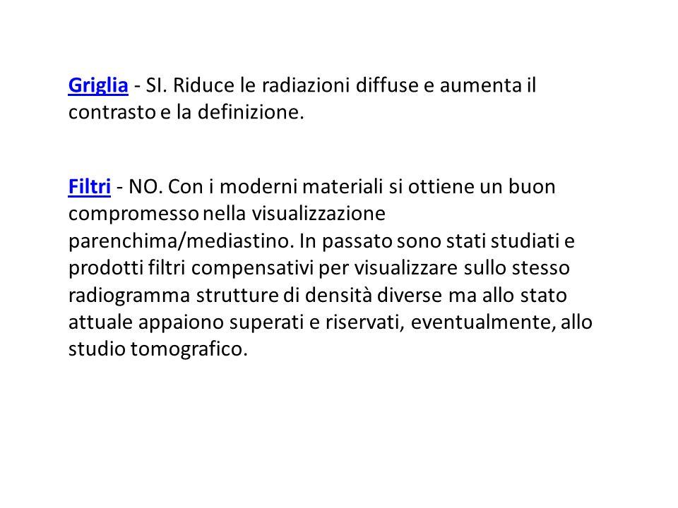 Griglia - SI. Riduce le radiazioni diffuse e aumenta il contrasto e la definizione.
