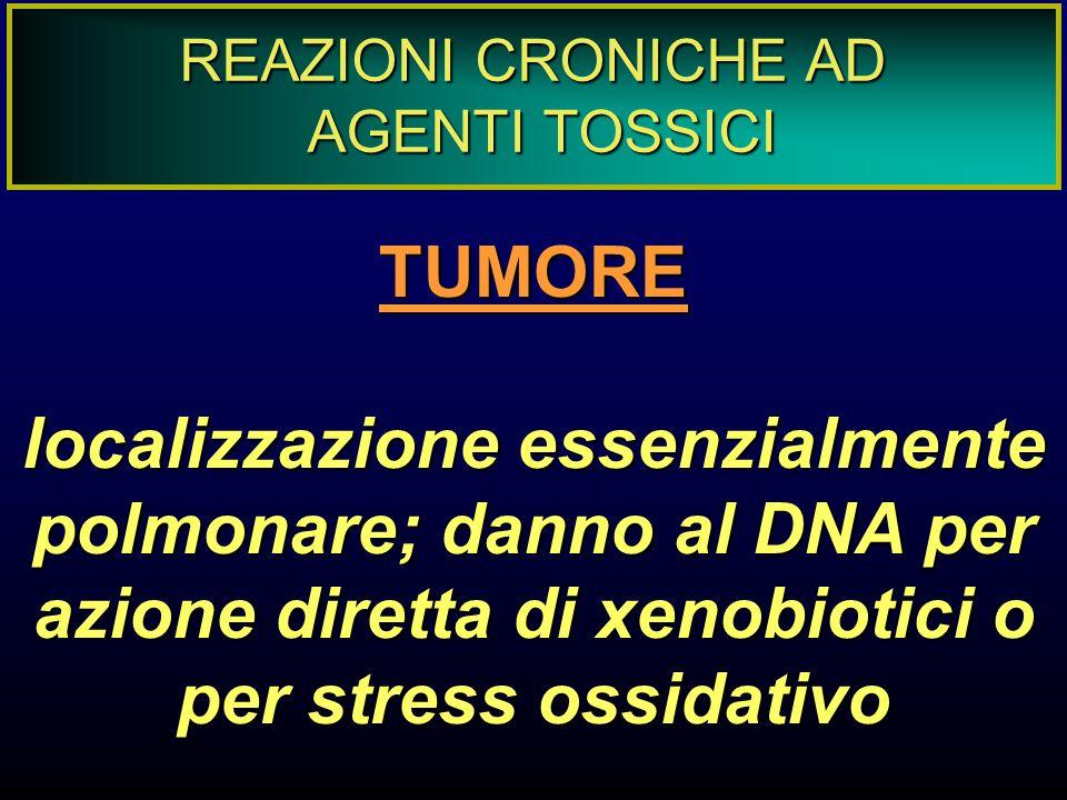 REAZIONI CRONICHE AD AGENTI TOSSICI. TUMORE.